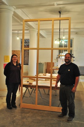 Crystal Nelson (YCHS Director) and Ben Brunick (Chalkstone Woodworking). Photo by author, May 9, 2015.
