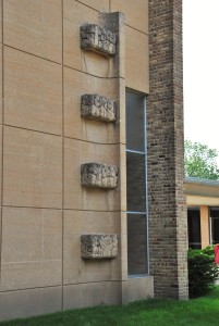 Sculptural art on the facade.  Christ Church Lutheran, photograph by author.