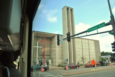 Exterior, from the bus.  Jehovah Lutheran Church, photograph by author.