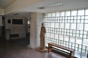 Off the narthex.  Beautiful use of glass block.  Church of St. Columba, photograph by author.