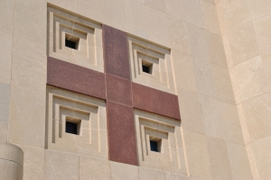 Facade detail.  Note Indiana limestone. Church of St. Columba, photograph by author.