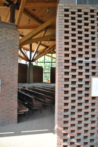 Moving from outside hall to the sanctuary.  Weyerhauser Chapel, photograph by author.