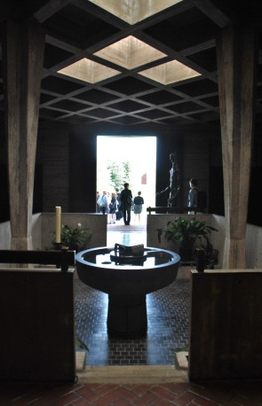 The baptismal font in the entry of the St. John's Abbey Church