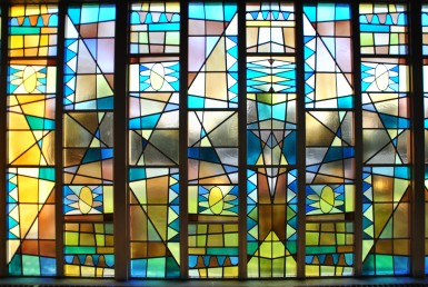North side stained glass, Blue Cloud  Abbey, Marvin SD, July 2015, photograph by author.