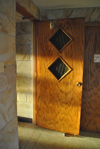 Bubble glass in doors, Blue Cloud  Abbey, Marvin SD, July 2015, photograph by author.