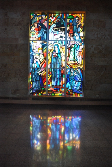 Reflection of light in transept window of St. Scholastica, Blue Cloud  Abbey, Marvin SD, July 2015, photograph by author.