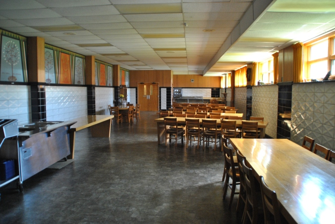 Dining room with cool molded tiles, Blue Cloud  Abbey, Marvin SD, July 2015, photograph by author.