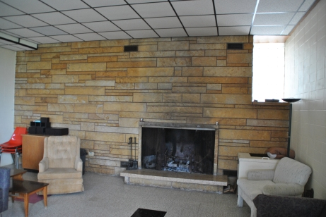 Wonderful fireplace design, Blue Cloud  Abbey, Marvin SD, July 2015, photograph by author.