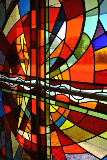 Stained glass detail, Christ the King Catholic Church, July 26, 2015, photograph by author.