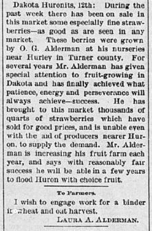 Note the description of O.G. farm, right above an advertisement that Laura was hiring labor for other work. Turner County Herald (Hurley SD), July 19, 1888.